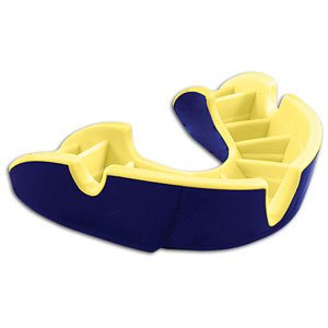 Opro Silver Zahnschutz (Strapped) Dark Blue - Yellow OPRO SILVER STRAPPED