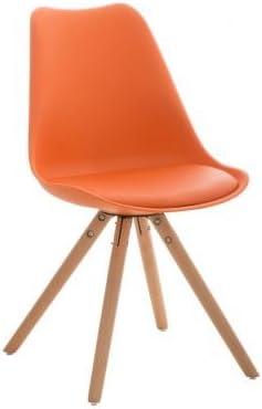 CLP Retrostuhl PEGLEG mit hochwertiger Polsterung und Kunstlederbezug I Schalenstuhl mit Holzgestell und Einer Sitzhöhe von: 46 cm, Farbe:orange,