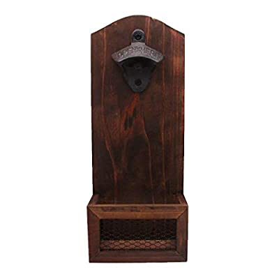 Euone Bottle Opener with Cap Collector Catcher,Vintage Wooden Wall Mounted Bottle Gift: Toys & Games