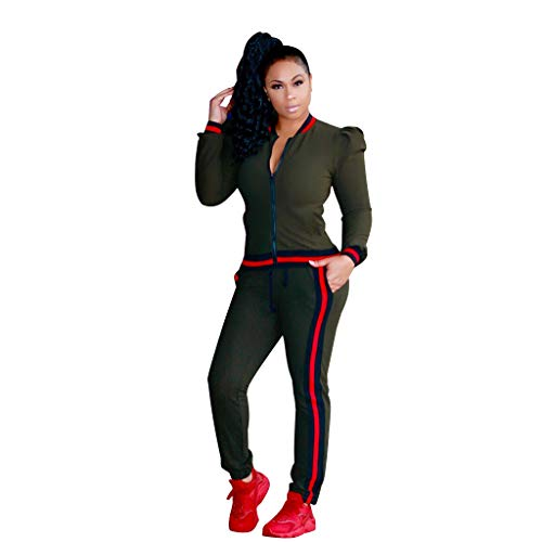 Nuofengkudu Women 2 Pieces Tracksuits Outfits Long Puff Sleeve Zipper Jacket and Pants Sets Sports Yoga Sweatsuits