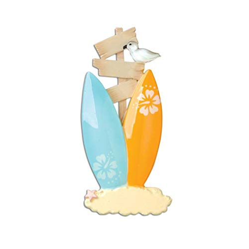 Personalized Surf Board Family of 2 Christmas Tree Ornament 2019 - Beach Couple Friend Sand Summer Year Gift Together Honeymoon Tourist Travel Ocean Tropic Holiday Bird - Free Customization (Two)