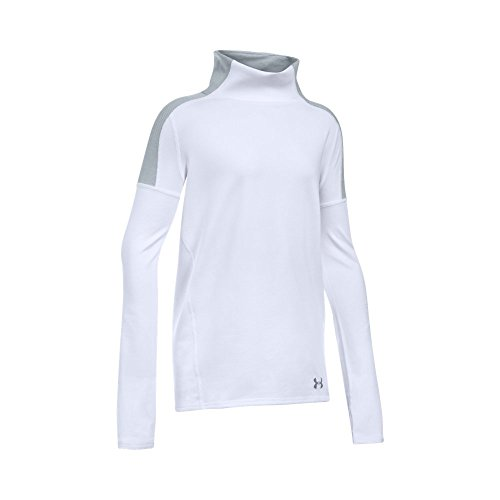 Under Armour Girls' Cozy ColdGear Long Sleeve, White/Steel, Youth Large - Youth White Mock Turtleneck