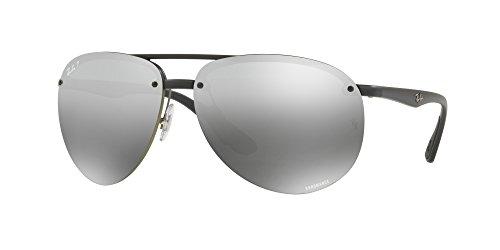 Ray-Ban RB4293CH Chromance Mirrored Aviator Sunglasses, Matte Black/Polarized Silver Gradient Mirror, 65 mm (Ray Ban Farbige Gläser)