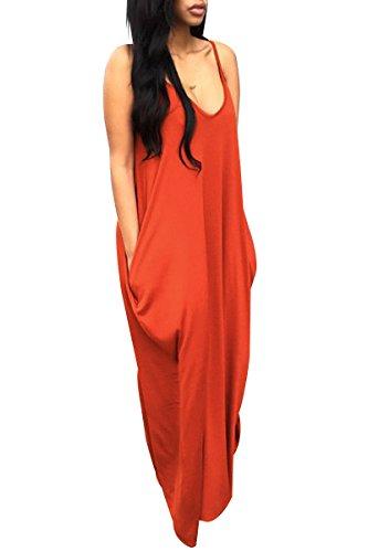 Womens Fashion Casual Chiffon Long Slip Maxi Dress (Black) - 6