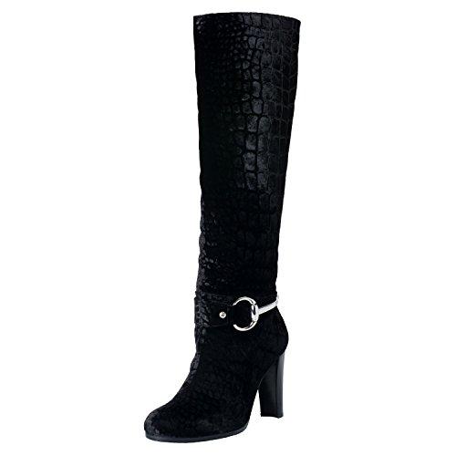 Stuart Weitzman Black Croc (Stuart Weitzman Women's Black Croc Print Velvet High Heel Boots Shoes US 7 IT 37)