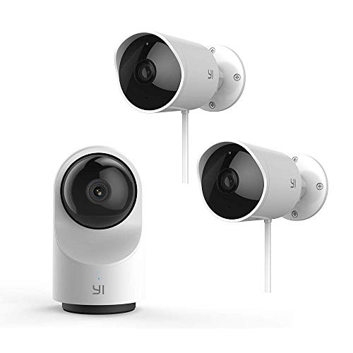 YI 1080P Indoor/Outdoor Security Camera Bundle Set, 2.4G WiFi Home Surveillance System with 24/7 Emergency Response, App/Cloud Service Available – Dome Camera X and Outdoor Security Camera 2pc