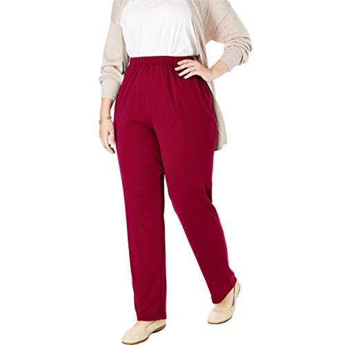 Woman Within Plus Size Tall 7-Day Knit Straight Leg Pant - Rich Burgundy, L