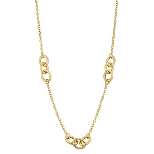 Kooljewelry 14k Yellow Gold Triple Oval Link Station Necklace (18 ()