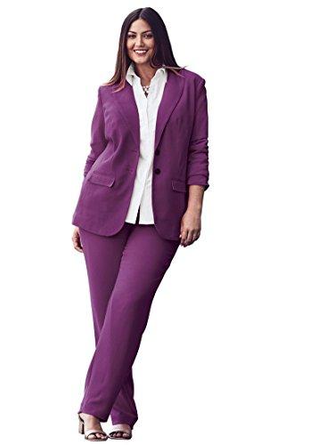 Jessica Pant Suit - Jessica London Women's Plus Size Single Breasted Pant Suit Plum Purple,28 W