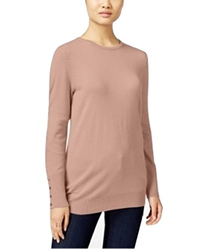 Tea Collection Pullover (Jm Collection Button-Cuff Sweater, Tea Rose, XXL)