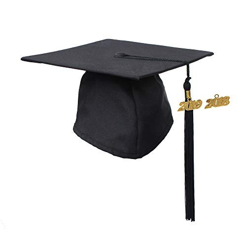 GraduationService Graduation Matte Cap With Tassel Year Charm 2018 ()