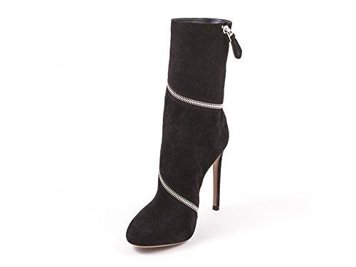 Alaïa Midcalf con Cremallera Botas EN Gamuza Negra - Número de Modelo: 4W3T050CC05 negro