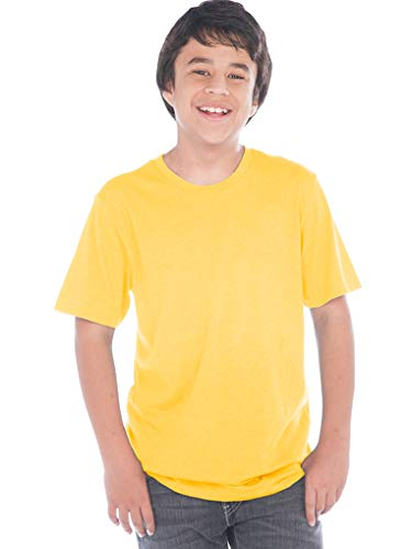 Kavio! Youth Crew Neck Short Sleeve Tee Jersey (Same YJC0263) Yellow S (T-shirts Together Yellow)
