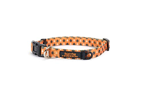 Mighty Paw Halloween Dog Collar, Special Festive Printed Pattern, Neoprene Padded Handle with Durable Polyester Webbing -