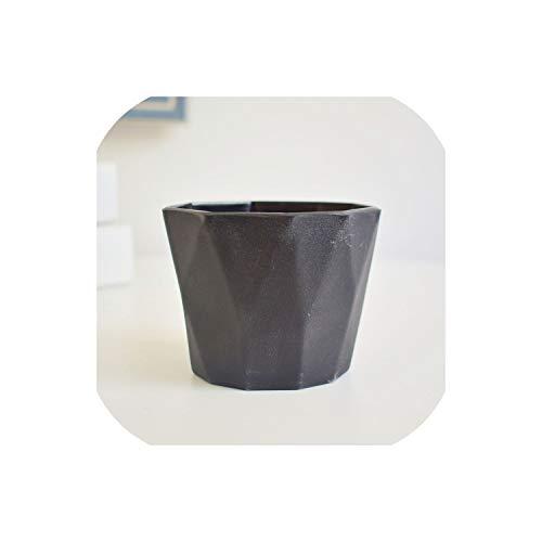 Grapefruit09 Macaron Mini Fleshy Plant Flowerpots for Home and Garden Succulents Desktop Decoration Crafts Green Flower Pot Vase,Black