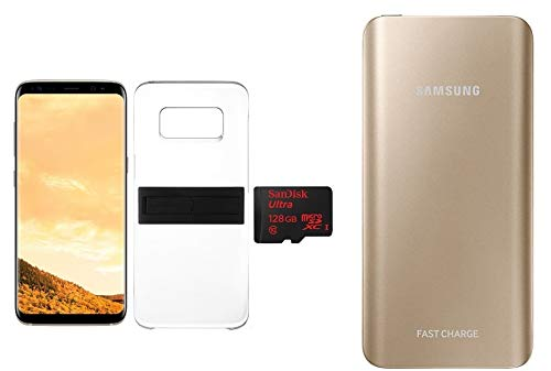 newest 7cde2 c671c Samsung GalaxyS8Dual Sim 64GB Maple Gold with KickTOK Cover Black, SanDisk  128GB microSD Card and Samsung 5200mAh Battery Pack