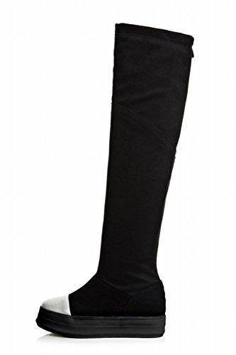 Carolbar Femmes Zip Mode Confort Plate-forme Cachée Talon Bottes Hautes Noir