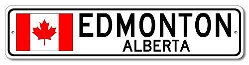 Iliogine Edmonton Alberta Canadian Flag Sign Canada Custom Flag Sign Metal Wall Art Street Sign Christmas Funny Gifts Men (Metal Edmonton Wall Art)