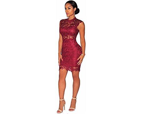 Vestidos De Mujer Ropa De Moda Para Fiesta y Noche Elegante Casuales Encaje Rojos (L) VE009