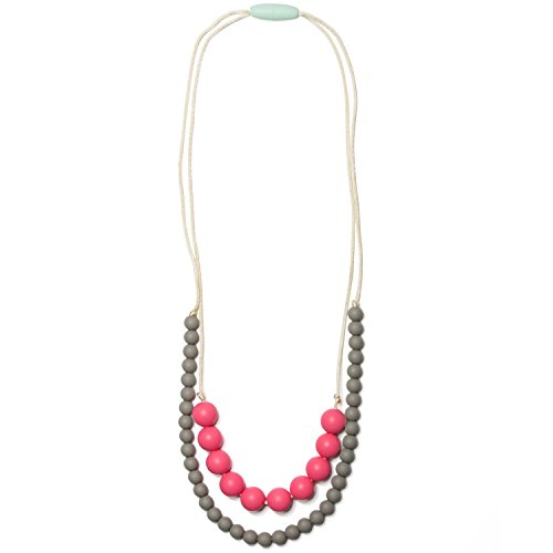 Mama & Little Deila Silicone Baby Teething Necklace for Moms - Nursing Necklace in Bubblegum - Teething Beads and Baby Teething ()