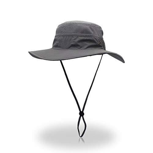 7f6ce56bb Duakrs Unisex Wide Brim Sun Hat,Outdoor UPF 50+ Waterproof Boonie Hat  Summer UV Protection Sun Caps (Gray)
