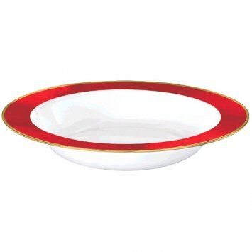 (Amscan 430585.40 Premium Bowls Plastic Plates, 12 ounces, White with Red Border)