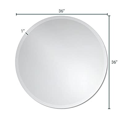 The Better Bevel Round Frameless Wall Mirror | Bathroom, Vanity, Bedroom Mirror | Beveled Edge