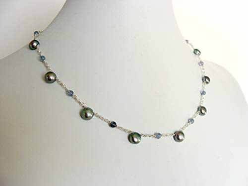 Gray pearl and iolite necklace, sterling silver, 16.75 inches, handmade by Let Loose Jewelry ()