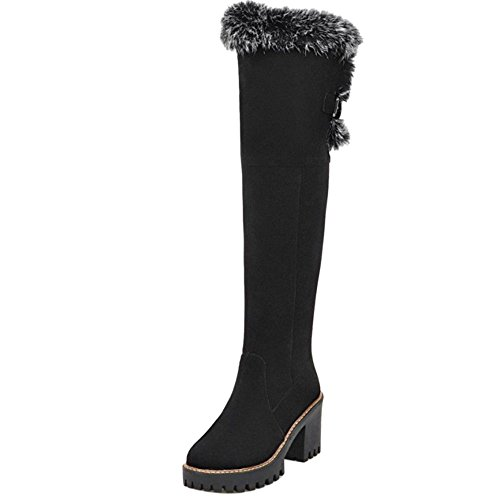 COOLCEPT Women Fashion Warm Lined Long Snow Boots Block Heel Black EgG6R