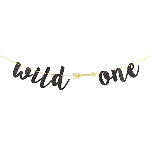 Karoo Jan Black Glitter Wild One Banner with Arrow Happy 1st Birthday Party Decoration Bunting Photo Props, Party Supplies (Arrow 1)