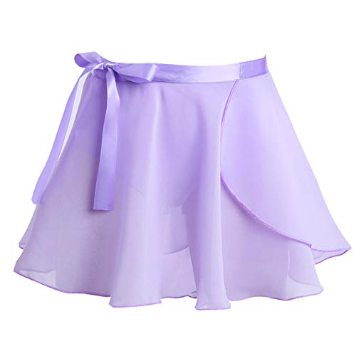 Wrap Chiffon Floral (iEFiEL Kids Girls Dance Basic Chiffon/Floral Lace Wrap Skirt Ballet Pull-On Skirt Dancewear Costumes Lavender Wrap Skirt with Tie 8-12)