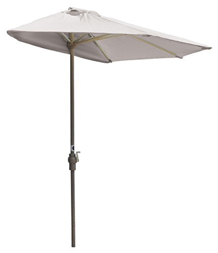 (Blue Star Group Off-The-Wall Brella Natural Sunbrella Half Umbrella, 7.5'-Width, White)