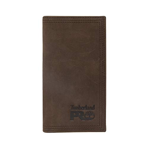 Timberland PRO Men's Leather Long Bifold Rodeo Wallet with RFID, Dark Brown, One Size