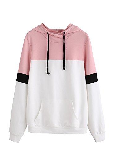- DIDK Women's Hoodies Long Sleeve Splice 3 Color Hooded Sweatshirt White Pink L