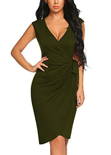 Sleeveless Cotton Dress Wrap - BLUETIME Women's V Neck Cocktail Bodycon Dress Cap Sleeve Work Pencil Wrap Dress (S, Army Green)