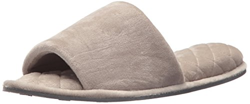 Dearfoams Indoor/Outdoor Women's Velour Slide Slipper - Comfortable, Machine Washable, Cushioned Slippers With Open-Toed Design, Pewter