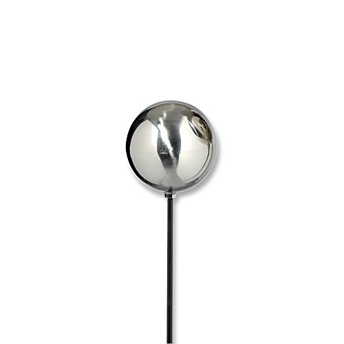 WHW Whole House Worlds Crosby Street Chic Gazing Ball Garden Stake, 5 1/8 Inch Stainless Steel Mirror Globe, Just Under 4 Ft at 47 Inches High, Stake Mounted