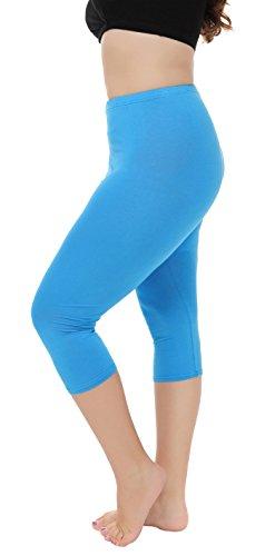 A-Wintage Women's Plus Size Capri Leggings 3/4 Length Leggings Modal Comfortable Leggings,Sky Blue,X-Large