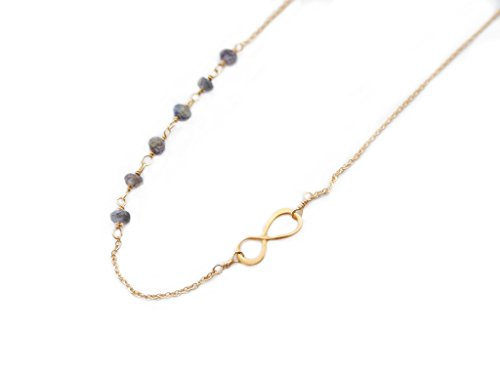14K Gold Infinity Necklace With Choice Of Iolite, Labradorite, Amethyst, Black Spinel, Topaz, Or Garnet Stones - Handmade