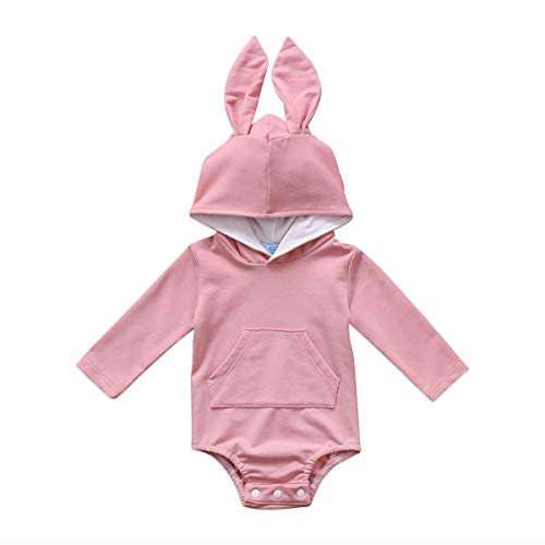 Bulingna Cute Baby Girl Boy Long Sleeve Bunny Hooded Romper Jumpsuit One-Piece Easter Outfit (Pink, 3-6 Months)