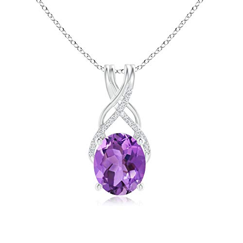 Oval Amethyst Criss Cross Pendant with Diamonds in 14K White Gold (12x10mm Amethyst)