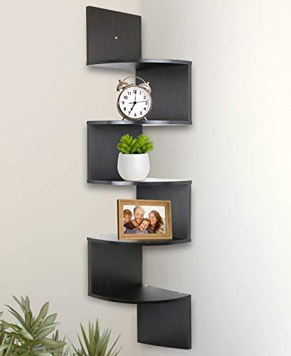 Aart Store Wall Mount Zigzag Wooden Corner Wall Shelf/Rack    5 Shelves  Brown