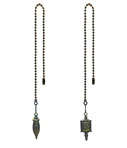 Price comparison product image Hyamass 2pcs Vintage Seafaring Lantern Charm Pendant Ceiling Fan Danglers Fan Pulls Chain Extender with Ball Chain Connector
