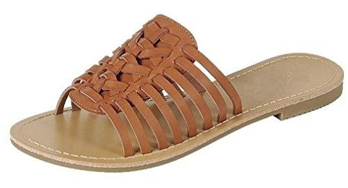 Forever Collection Womens Woven Huarache Flat Sandal Open Toe Slip On, Tan, 7