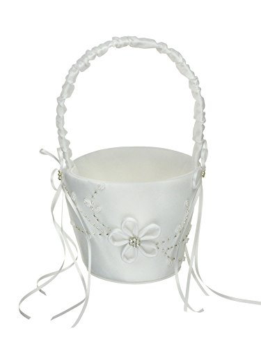 DivaDesigns Wedding Flower Girl Basket Floral Seed Bead Embroidery Crystal Accent - White
