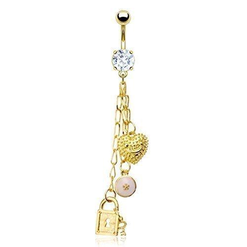 Coolbodyart piercing de nombril en acier chirurgical en forme de porte-bonheur doré chaîne de inspiré incolore-oxyde de zirconium