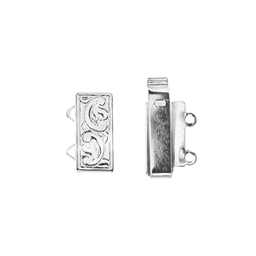 Elegant Elements, 2-Strand Swirl Design Box Clasp 16x10mm, 1 Set, Rhodium Plated (Classic Silver Plated Scroll)