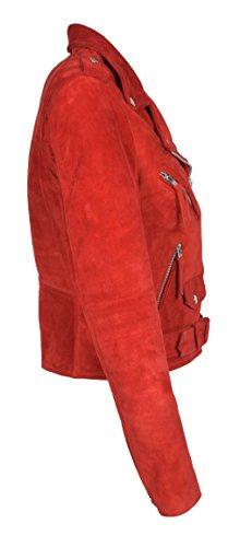 Biker Mujer Brando Estilo Retro Ajustado Chaqueta Leather Stella Of Piel House Auténtico Ante Rojo de E0ZPxqx