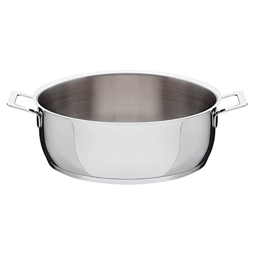 A Di Alessi,AJM102/28 ''POTS & PANS'', Low casserole with two handles in 18/10 stainless steel mirror polished,5 qt 27 oz by Alessi