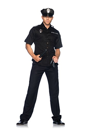 Men's 4 Piece Policeman Costume, Black, Medium / Large